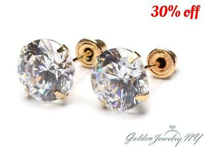 14K Yellow Gold Round CZ Stud Earrings with screw back for babies sizes1.5mm-7mm