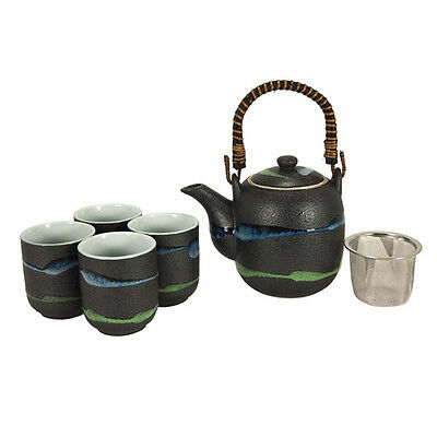 5 PCS. Japanese Tea Pot & Cups Set w/ Strainer Green Blue Stream, Made in Japan