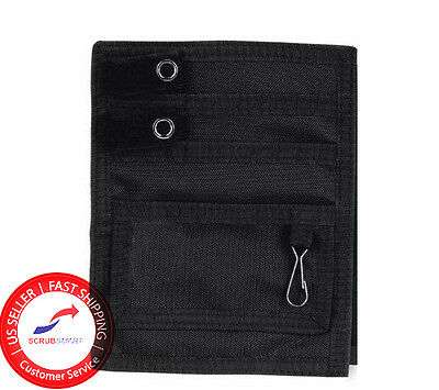 New! Nurse Nylon 5 Scrub Uniform Pocket Organizer Pal & Belt Loop - Color Black