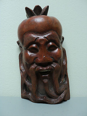 WONDERFUL 19th CENTURY ANTIQUE CARVED WOODEN MONK / ELDER MASK