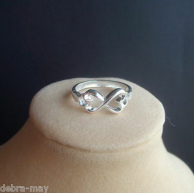 Double Heart Infinity Bow Knot Eternity Silver Ring