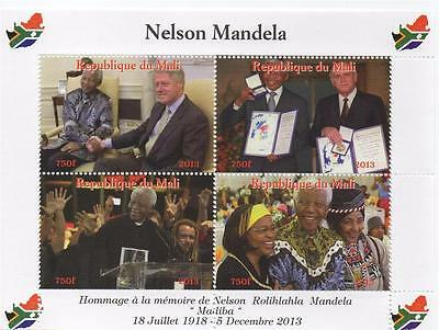 "IN MEMORY OF NELSON MANDELA BILL CLINTON 6"" x 4 1/4"" MINT STAMP SHEETLET 2013"