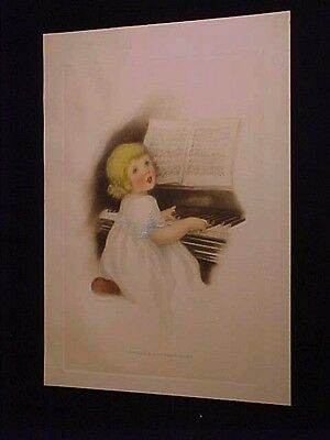 HENRY WIREMAN SIGNED RARE VINTAGE PRINT GUTMANN LIKE CHILD PLAYING PIANO 1910S