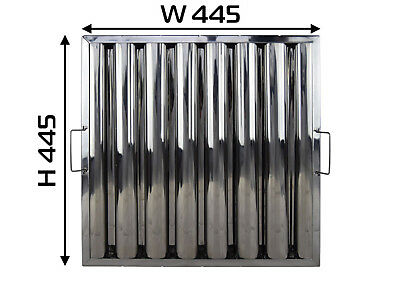 """Baffle Grease Filter Stainless Steel 445hx445wx48mm (18x18x2"""") Canopy Extraction"""
