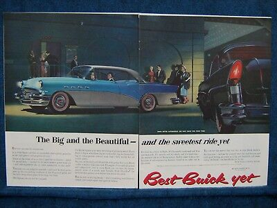 1956 Buick  ~ 2 PG Ad ~ Blue & Gray - Fancy  Red Trimmed Tires