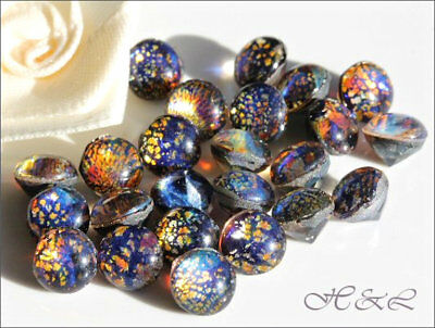 15 Glass Black Multi FIRE OPAL CHATONS W German Cab Top Pointback UF 6.5mm 7mm