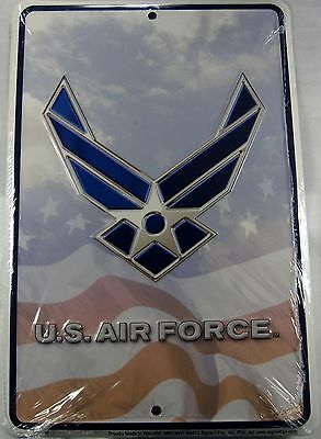 U.s. Air Force American Flag Sign Metal Plaque 8X12 Inches Usa Military L915