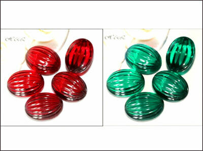 3 West German Vintage 16mm x 12mm Art Deco Ribbed Oval Emerald Green Siam Red