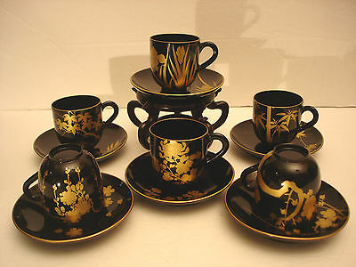 Japanese Meiji Period Lacquer Wood Cup & Saucer Set / 6
