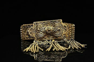 Antique Original Perfect Silver Gold Islamic  Ottoman Filigree Belt