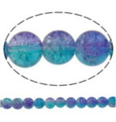 12pc 10mm 2 color tone round crackle glass bead-8040