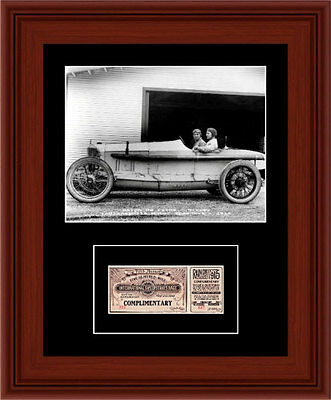 1915 Ralph DePalma Matted Photo Display 11X14 Indianapolis 500 Ticket Stub Indy