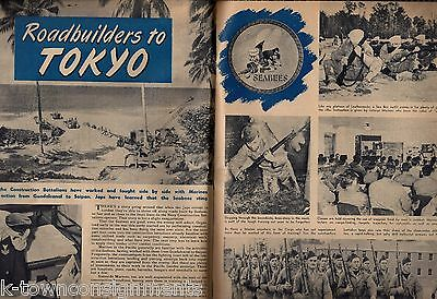 ROAD BUILDERS TO TOKYO VINTAGE WWII NAVY SEABEES GRAPHIC PHOTO PRINT NEWS PAGES