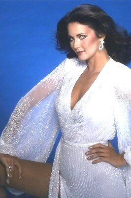 "Lynda Carter busty white dress 4""x6"" picture shot photo beautiful sexy portrait"