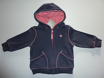 NEXT Gorgeous Little Navy Hoodie with Pink Trim 6-9 Months NWT