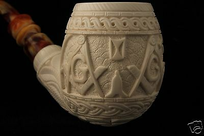 Masonic Pipe with Many Tools Hand Carved Meerschaum Pipe in a Case 5457  海泡石斗