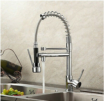 Modern Deck Mounted Pull Out Kitchen Faucet Dual Sprayer Vessel Sink Mixer Tap