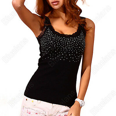 Womens Rhinestone Beaded Lace Stunning Vest Sexy Tank Top T-shirt Blouse B52U