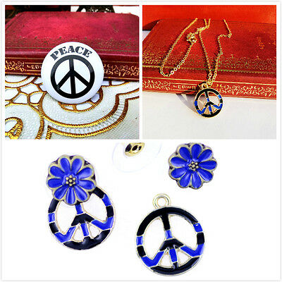 Vintage retro style peace sign necklace, earrings, brooch multiple choices