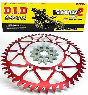 D.I.D. Gold Motocross Chain  RED Sprocket Combo Kit 50/13T  CRF450R  CR250R