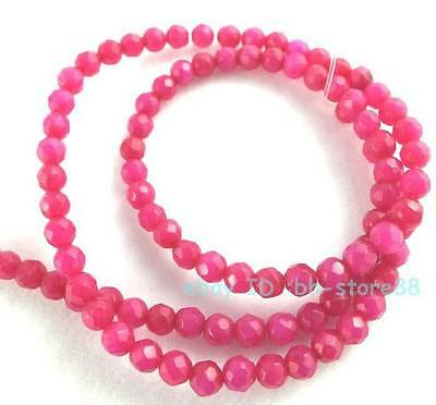 Beautiful!4mm Pink Jade Round Faceted Loose Beads 15''