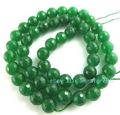 Beautiful!8mm Green Jade Round Faceted Loose Beads 15''