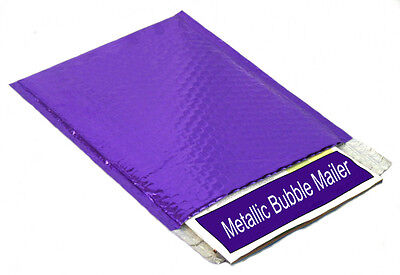Metallic Glamour Bubble Mailers Padded Bags 13 Inch x 17.5 Inch 100 Pcs Purple