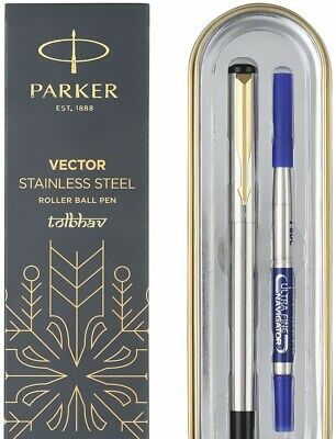 Parker Vector Steel SS GT Gold Trim Roller Ball Pen New Rollerball Blue Fine Nib