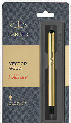 Parker Vector Gold plated Fine Nib & Trim GT Fountain Blue Ink Pen FP Sealed New
