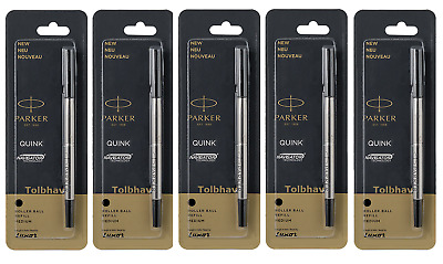 5 X Parker Quink Roller Ball Rollerball Pen Refills Black Ink Medium Nib New