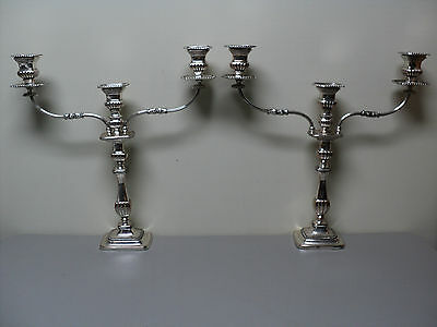 """PAIR ENGLISH 19th C. OLD SHEFFIELD PLATE (OSP) 21.5"""" SILVER PLATE CANDLE HOLDERS"""