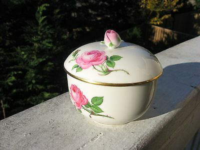Meissen Hand Painted Pink Rose Round Container/sugar bowl