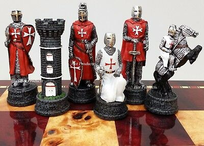 MEDIEVAL TIMES CRUSADES WARRIOR red & white CHESS MEN SET THE CRUSADE - NO BOARD