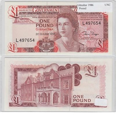 1986 1 Pound Banknote from Gibralrar in UNC Condition.