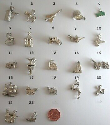 Choose any  Vintage Solid Silver Charms from 30 .So  Many Have Articulated Parts