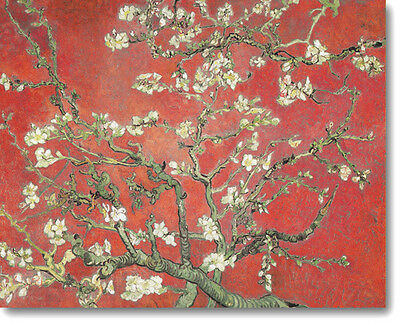 HUGE Van Gogh Almond Branches Blossom RED Stretched Canvas Giclee Repr ALL SIZES