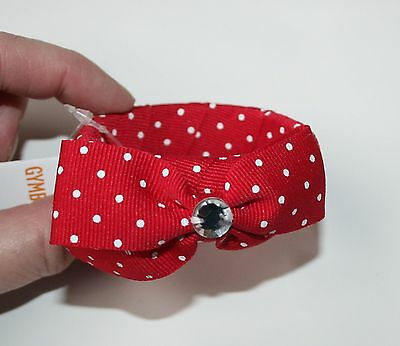 New Gymboree Cherry Cute Polka Dot Gem Bow Bangle Bracelet Red One Size NWT Girl