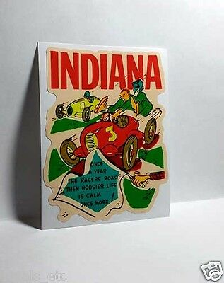 Indiana Racing Vintage Style Travel Decal / Vinyl Sticker, Luggage Label