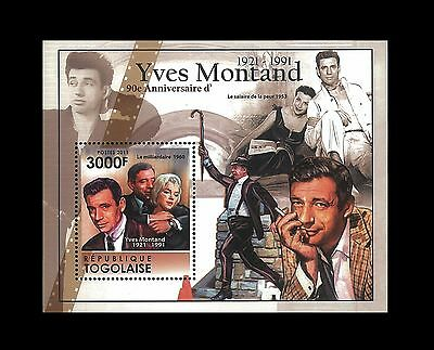 Togo 2011 Stamp, TG11304B 90th Anniversary of Yves Montand French Cinema  S/S
