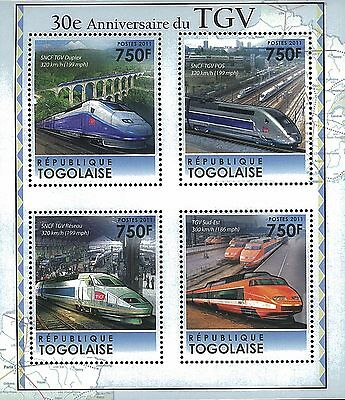 Togo 2011 Stamp, TG11316A 30th Anniversary of the TGV.Speed Trains, S/S