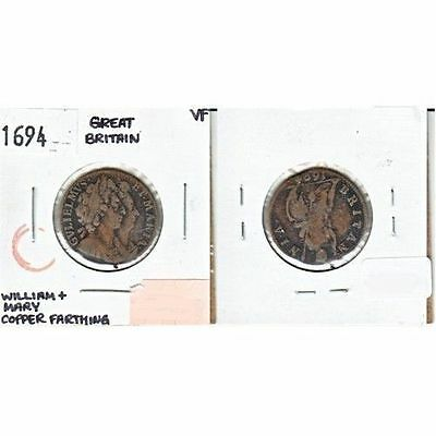 1694 Great Britain Copper Farthing VF; William and Mary
