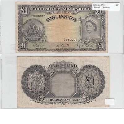 1953 1 Pound Banknote from The Bahamas in Very Fine Condition.