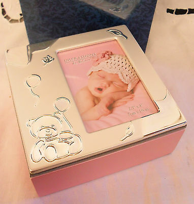 Baby Girl pink wooden hinged PHOTO BOX gift brand new with box
