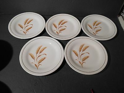 Knowles Golden Wheat Lot 5 Salad Plates Fine China Wheat Pattern by Knowles USA