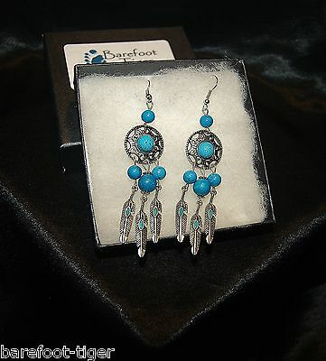 Barefoot Hippy Earrings Turquoise and Silver Plate. Gift Boxed