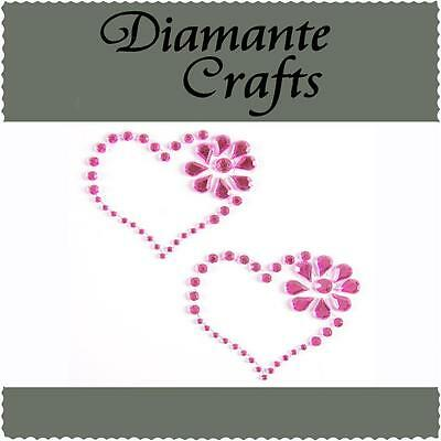2 Hot Pink Diamante Heart & Flower Self Adhesive Rhinestone Vajazzle Body Art