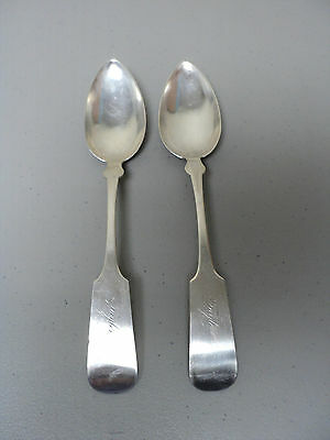 """Pair 19th C. American COIN SILVER 9"""" Serving Spoons, Engraved """"Taylor"""""""