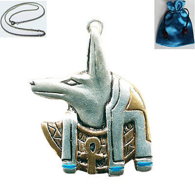 ANUBIS EGYPTIAN PENDANT NECKLACE Jewels of Atum Ra in a satin pouch
