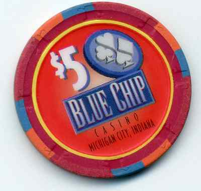 Vintage Blue Chip Casino $5  Obsolete House Michigan City  Indiana Chip   In