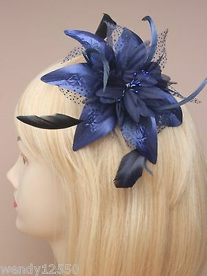 Pack Of 6 Navy Blue Flower & Feather Comb Fascinators : Sp-9847 Pk6